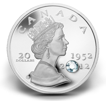 SALE - 2012 FINE SILVER COIN WITH CRYSTAL - THE QUEEN'S DIAMOND JUBILEE