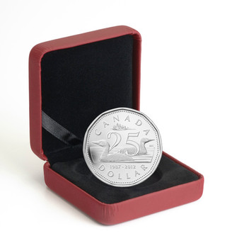 SALE - 2012 $1 FINE SILVER COIN - 25TH ANNIVERSARY OF THE LOONIE 11-SIDED