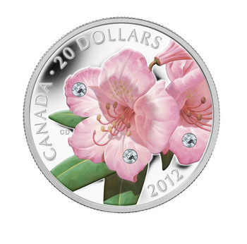 SALE - 2012 $20 FINE SILVER COIN - RHODODENDRON WILDFLOWER - SWAROVSKI CRYSTAL WATER DROPLETS