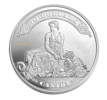 SALE- 2010 $10 FINE SILVER COIN - 75TH ANNIVERSARY OF THE FIRST BANK NOTES ISSUED BY THE BANK OF CANADA