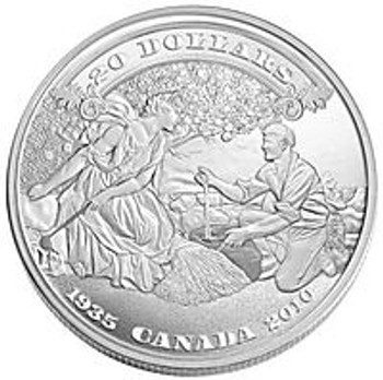 SALE - 2010 $20 FINE SILVER COIN - 75THE ANNIV. OF THE FIRST BANK NOTES ISSUED BY THE BANK OF CANADA