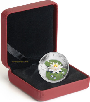 SALE - 2010 $20 FINE SILVER COIN - WATER LILY WITH SWAROVSKI CRYSTALS
