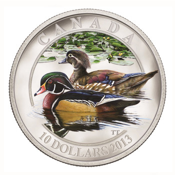 SALE - 2013 $10 FINE SILVER COIN DUCKS OF CANADA - WOOD DUCK