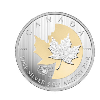 SALE - 2013 $50 FINE SILVER - 25TH ANNIVERSARY OF THE SILVER MAPLE LEAF
