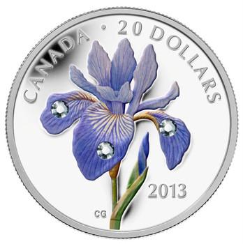 SALE - 2013 $20 FINE SILVER - BLUE FLAG IRIS (IRIS VERSICOLOR)