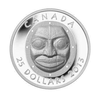 SALE - 2013 $25 FINE SILVER - GRANDMOTHER MOON MASK