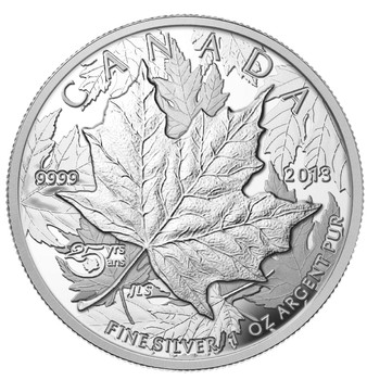 SALE - 2013 $5 FINE SILVER HIGH RELIEF PIEDFORT COIN - 25TH ANNIVERSARY OF THE SILVER MAPLE LEAF