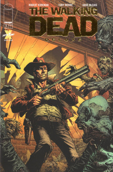 "WALKING DEAD DLX #1 CVR A FINCH & MCCAIG (MR) IMAGE COMICS (W) Robert Kirkman (A) Tony Moore, Dave McCaig (CA) David Finch, Dave McCaig  Read it again! It's time to revisit the historic independent series that took the entertainment world by storm 17 years ago! Follow Rick Grimes's journey again, from the very beginning, but this time in STUNNING FULL COLOR by the masterful DAVE McCAIG. This deluxe version will feature a memorable array of variant covers commemorating major character introductions and the series' most memorable twists and turns. Each issue will include a new installment of ""The Cutting Room Floor,""  featuring ROBERT KIRKMAN's original handwritten plots along with commentary on abandoned storylines and things that may have changed along the way. This deluxe, definitive presentation of the story in full color will NOT be collected any time soon, so these single issues will be the only way to experience this."