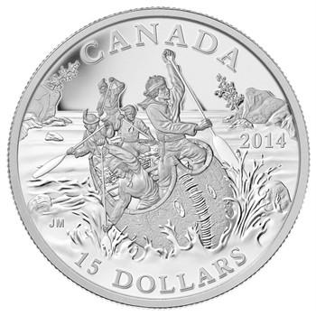 2015 $15 FINE SILVER COIN - EXPLORING CANADA - THE VOYAGEURS