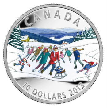 SALE - 2013 FINE SILVER $10 COIN - WINTER SCENE - MINTAGE: 8000