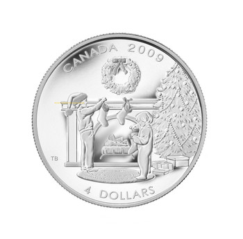 SALE - 2009 $4 FINE SILVER COIN - HANGING THE STOCKINGS - QUANTITY SOLD: 6,011
