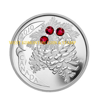 SALE - 2010 $20 FINE SILVER COIN - HOLIDAY PINECONES - RUBY