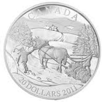 SALE - 2011 $20 FINE SILVER COIN - WINTER SCENE