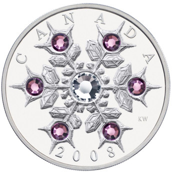 Copy of 2008 $20 FINE SILVER COIN - CRYSTAL SWAROVSKI AMETHYST SNOWFLAKE