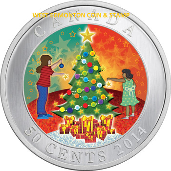 SALE - 2014 50-CENTS CUPRONICKEL COIN - LENTICULAR CHRISTMAS TREE
