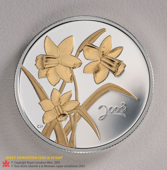 SALE - 2003 STERLING SILVER & GOLD PLATED 50-CENT COIN - GOLDEN DAFFODIL