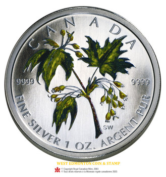 SALE - 2003 1OZ FINE SILVER - MAPLE LEAF COLOURED COIN - QUANTITY SOLD: 29,416