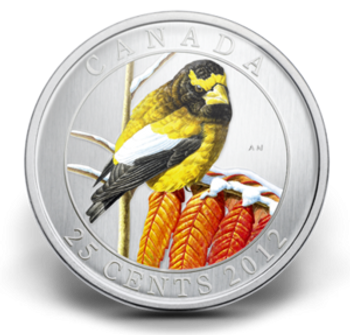 SALE - 2012 25-CENT COLOURED COIN - EVENING GROSBEAK