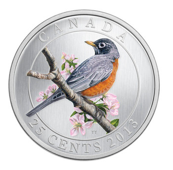 SALE - 2013 25-CENT COLOURED COIN - AMERICAN ROBIN