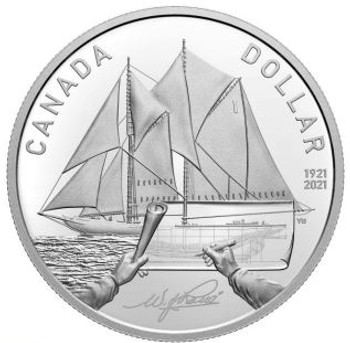 2021 FINE SILVER PROOF DOLLAR 100TH ANNIVERSARY OF BLUENOSE