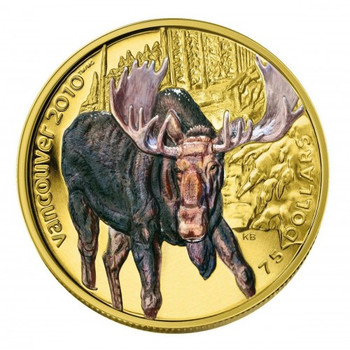2009 OLYMPIC $75 14KT GOLD COIN - MOOSE