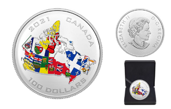 2021 $100 FINE SILVER COIN CANADA'S PROVINCIAL AND TERRITORIAL FLAGS