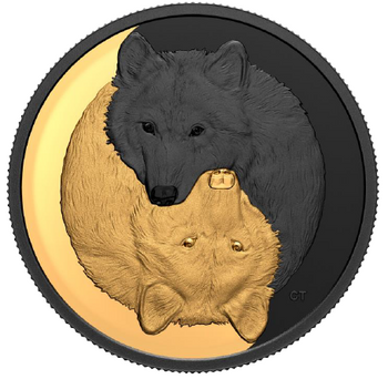 2021 $20 FINE SILVER COIN BLACK AND GOLD: THE GREY WOLF