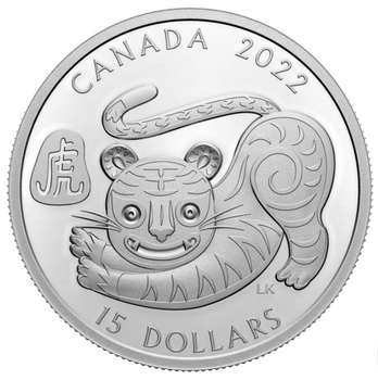 2022 $15 FINE SILVER COIN LUNAR YEAR OF THE TIGER