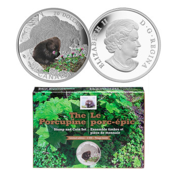 2015- THE PORCUPINE STAMP AND COIN SET $20 FINE SILVER