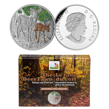 2015- THE DEER FAWN, COIN AND STAMP SET $20 FINE SILVER