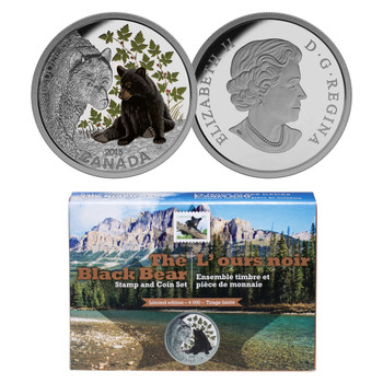 2015- THE BLACK BEAR, STAMP AND COIN SET $20 FINE SILVER