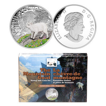 2015- THE MOUNTAIN GOAT, COIN AND STAMP SET $20 FINE SILVER