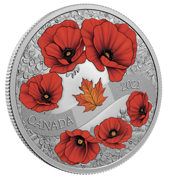 2021 $20 FINE SILVER COIN  A WREATH OF REMEMBRANCE: LEST WE FORGET
