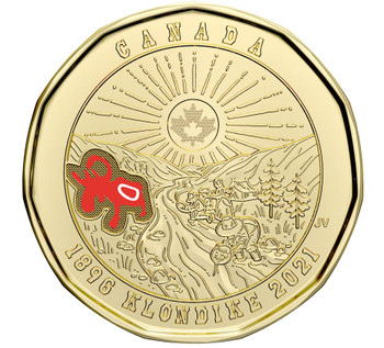 2021 COMMEMORATIVE LOONIE 125TH ANNIVERSARY OF THE KLONDIKE GOLD RUSH - COLOURED