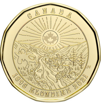 2021 COMMEMORATIVE LOONIE 125TH ANNIVERSARY OF THE KLONDIKE GOLD RUSH - UNCLOLOURED