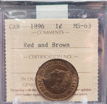 1896 CANADA CIRCULATION 1 CENT MS-63 - RED AND BROWN