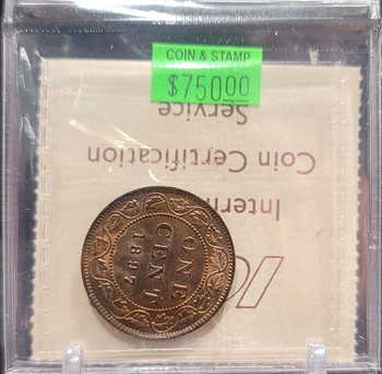 1897 CANADA CIRCULATION 1 CENT MS-64 - RED AND BROWN
