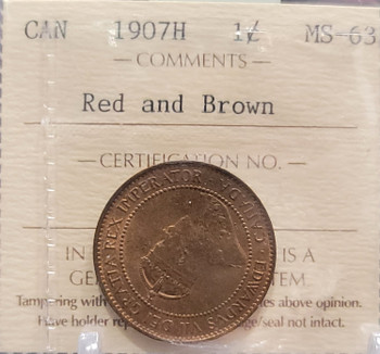 1907H CANADA CIRCULATION 1 CENT MS-63  - RED AND BROWN