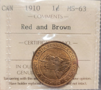 1910 CANADA CIRCULATION 1 CENT MS-63 - RED AND BROWN