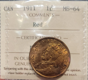 1911 CANADA CIRCULATION 1 CENT MS-64 -RED
