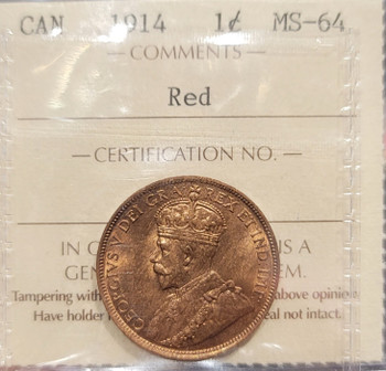 1914 CANADA CIRCULATION 1 CENT MS-64 - RED