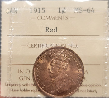 1915 CANADA CIRCULATION 1 CENT MS-64 - RED