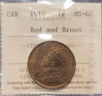 1916 CANADA CIRCULATION 1 CENT MS-62 - RED AND BROWN