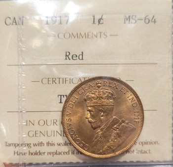1917 CANADA CIRCULATION 1 CENT MS-64 - RED