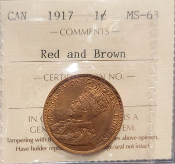 1917 CANADA CIRCULATION 1 CENT MS-63 - RED AND BROWN