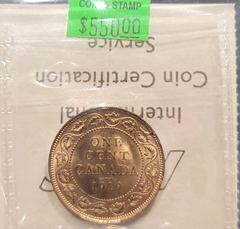 1919 CANADA CIRCULATION 1 CENT MS-65 - RED