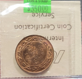 1920 CANADA CIRCULATION 1 CENT MS-64 - LARGE; RED