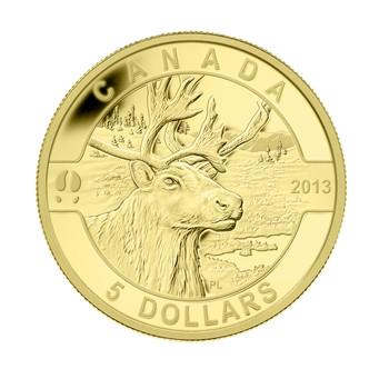 2013 $5 PURE GOLD COIN O CANADA SERIES - THE CARIBOU (1/10oz. GOLD)