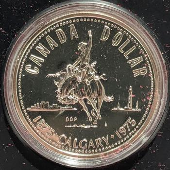 1975 SPECIMEN COMMEMORATIVE SILVER DOLLAR - CALGARY CENTENNIAL
