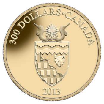 2013 $300 14 KARAT GOLD COIN TERRITORIAL COAT OF ARMS NORTHWEST TERRITORIES